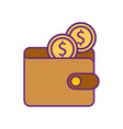 online ecommerce wallet with dollar coins money vector image vector image