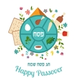 Passover seder plate with floral decoration vector image