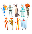 people in carnival costumes set funny persons vector image vector image