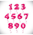 pink number 1 2 3 4 5 6 7 8 9 0 metallic balloon vector image