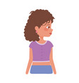profile young woman with curly hair cartoon vector image vector image
