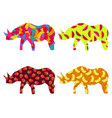 rhino with a pattern of berries and fruit vector image vector image