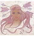 Sagittarius as portrait of beautiful african girl vector image vector image