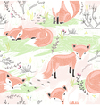 Seamless pattern with little foxes vector image vector image
