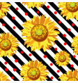 seamless with sunflower flowers on black vector image vector image
