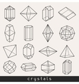 set geometric crystals gem and minerals vector image