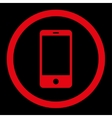 Smartphone flat red color rounded icon vector image vector image