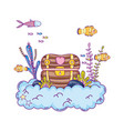 treasure chest undersea scene vector image