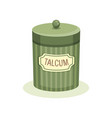 vintage design of green jar with talcum container vector image vector image