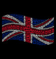 waving great britain flag mosaic of death skull vector image