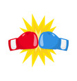boxing gloves fight icon red vs blue vector image