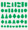 a set of trees of different shapes in simple flat vector image