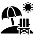 beach chair with umbrella icon summer vacation vector image vector image