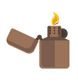 brass or brown cigarette lighter icon with flaming vector image