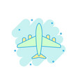 cartoon colored airplane icon in comic style vector image vector image