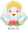 cartoon cute little baboy with flowers vector image vector image