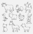 cartoon farm animals thin lines collection isolate vector image
