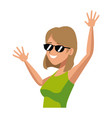 cartoon funny woman tourist happy image vector image