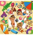children on the beach vector image