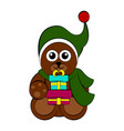 christmas bear character holding a present vector image vector image
