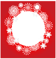 Christmas red background with snowflakes and place vector image vector image
