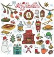 Christmas season doodle iconssymbolsColored vector image