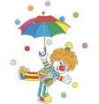 circus clown with an umbrella vector image vector image