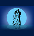 contour image of the dancing bride and groom vector image vector image