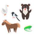 cute animals cartoon flat stickers set vector image
