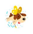 cute winged beagle dog with a magic wand fantasy vector image vector image