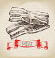 hand drawn sketch meat product vintage bacon vector image vector image