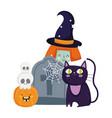 happy halloween witch cat tombstone skulls vector image vector image