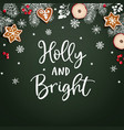 holly and bright christmas greeting card vector image vector image