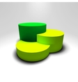 Infographic 3D pedestal with green and vector image