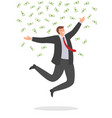 joyful businessman jumping with happiness under vector image