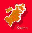 map of boston city sticker vector image