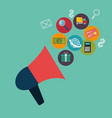 megaphone with social media marketing vector image vector image