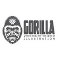 monochrome with a smiling gorilla vector image