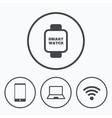 Notebook and smartphone icon Smart watch symbol vector image vector image