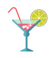 pink cocktail in martini glass with straw and lime vector image vector image