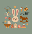poster with bohemian little baby elements