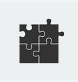 puzzle - icon set of four black piece puzzle on vector image