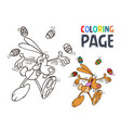 rabbit and egg cartoon coloring page vector image vector image
