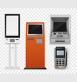 realistic payment terminal atm and self-ordering vector image vector image