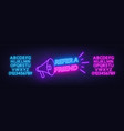 refer a friend neon sign on brick wall background vector image vector image