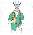 retro hipster animal giraffe with tropic cocktail vector image