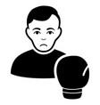 sad boxing sportsman black icon vector image vector image