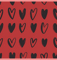 seamless pattern with black hand drawn hearts on vector image vector image