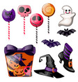 set of bright candies on stick lollipop witch vector image
