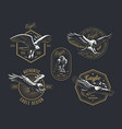 set of the vintage logo with the eagle vector image vector image